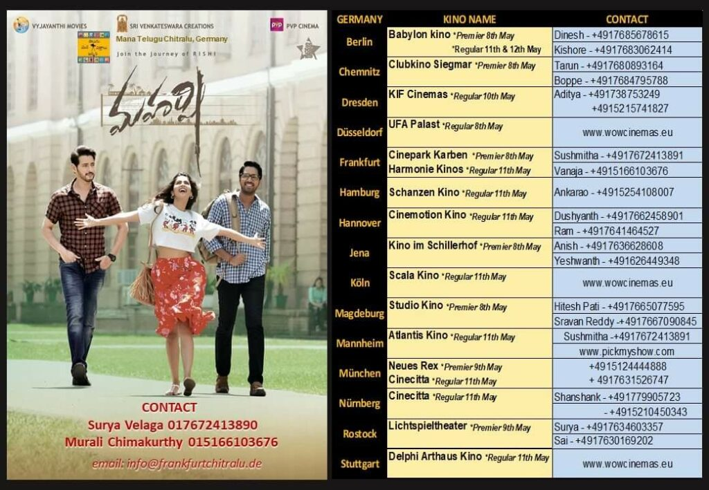 Maharshi Germany Schedule